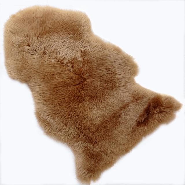 ムートン 長毛 ラグ 1 匹物 シープスキン 天然 ラムスキン 100% 大判 ブラウン L/W95-1.0UMBER 4571448617021