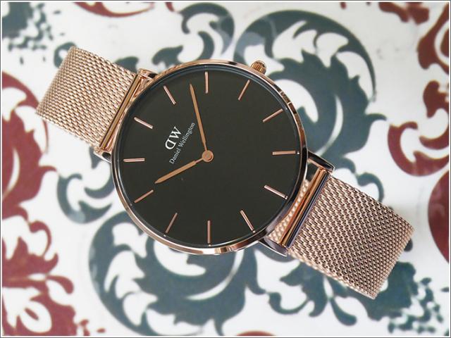 ダニエル ウェリントン DANIEL WELLINGTON 腕時計 DW00100303 DW00600303 ローズゴールド 36mm PETITE MELROSE ペティット メルローズ ブラック