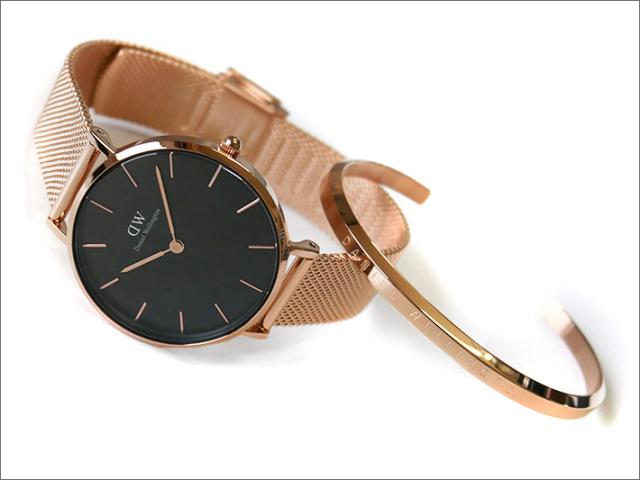 ダニエル ウェリントン DANIEL WELLINGTON 腕時計 DW00700002 バングルセット ローズゴールド PETITE MELROSE BLACK 32mm/Sサイズ