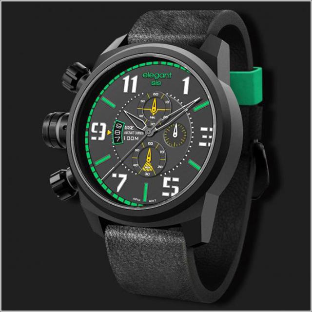 エレガントシス elegantsis 腕時計 ELJF48-OG01LC ミリタリースタイル 航空母艦モデル