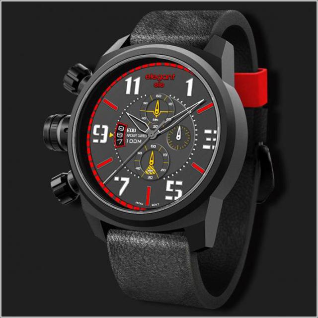 エレガントシス elegantsis 腕時計 ELJF48-OR02LC ミリタリースタイル 航空母艦モデル