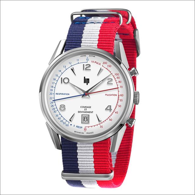 リップ LIP 腕時計 670011 COURAGE 脈拍・呼吸数計測 クロノグラフ テキスタイルベルト クォーツ (ラバー替えベルト付き)