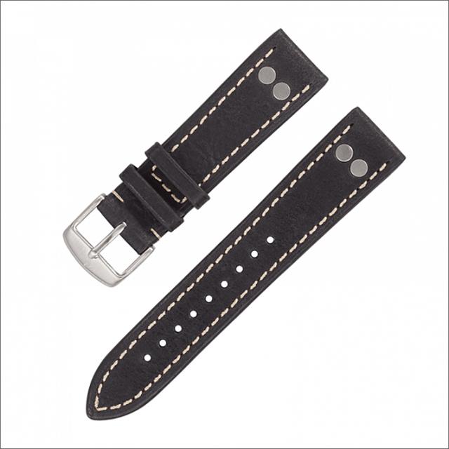 Laco ラコ 401861XL レザーストラップ ブラック 20mm幅