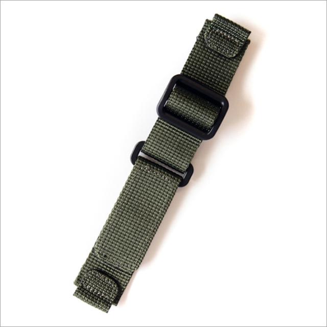 時計替ベルト ナイロン カーキ 20mm幅