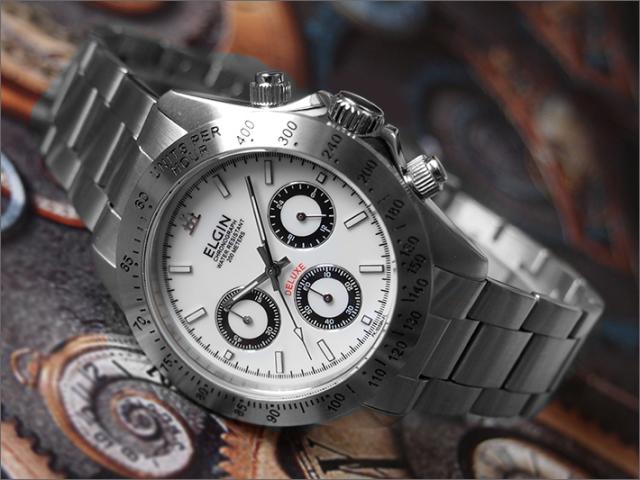 エルジン ELGIN 腕時計 クロノグラフ FK1059S-W 白 メタルベルト