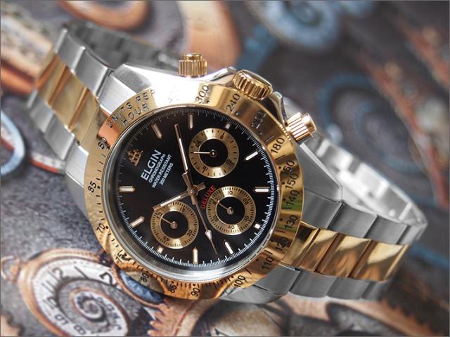 エルジン ELGIN 腕時計 クロノグラフ FK1059TG-B コンビ メタルベルト