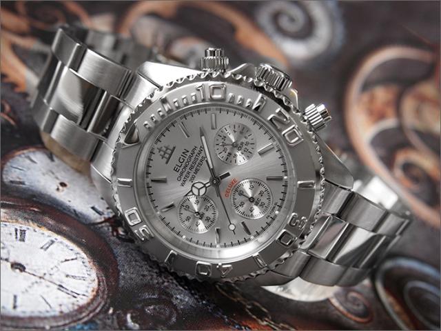 エルジン ELGIN 腕時計 クロノグラフ FK1120S シルバー メタルベルト