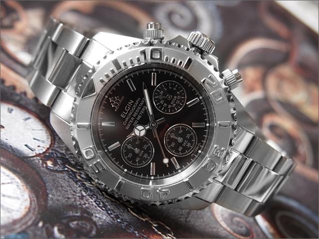 エルジン ELGIN 腕時計 クロノグラフ FK1120S-B 黒 メタルベルト