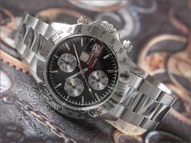 エルジン ELGIN 腕時計 クロノグラフ FK1184S-B 黒 メタルベルト