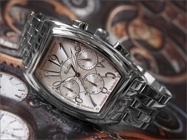 エルジン ELGIN 腕時計 クロノグラフ FK1215S シルバー メタルベルト