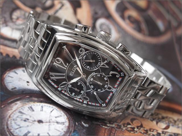 エルジン ELGIN 腕時計 クロノグラフ FK1215S-B ブラック メタルベルト