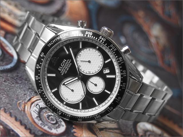 エルジン ELGIN 腕時計 クロノグラフ FK1401S-B 黒 メタルベルト