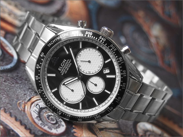 エルジン ELGIN 腕時計 クロノグラフ FK1401S-B ブラック メタルベルト