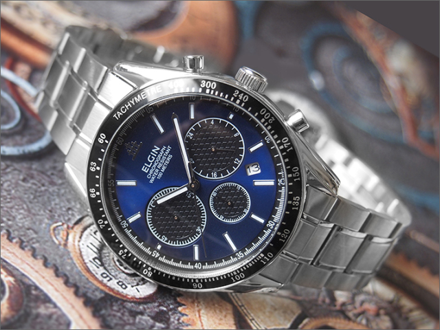 エルジン ELGIN 腕時計 クロノグラフ FK1401S-BL 青 メタルベルト