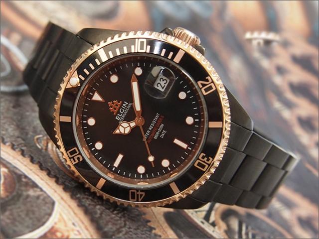 エルジン ELGIN 腕時計 オートマチック FK1405B-B 黒 メタルベルト
