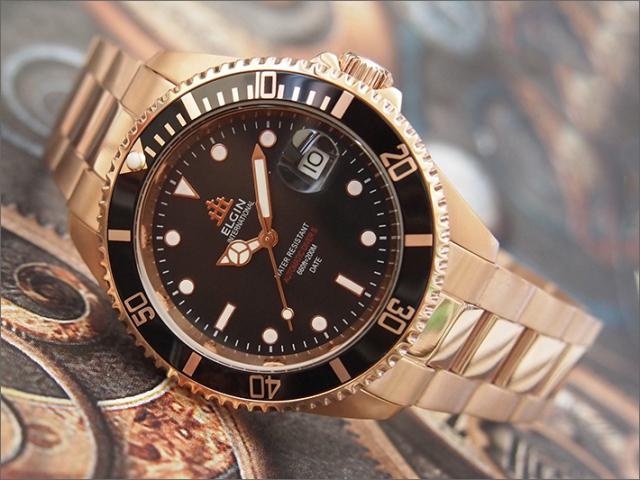 エルジン ELGIN 腕時計 オートマチック FK1405PG-B ブラック メタルベルト