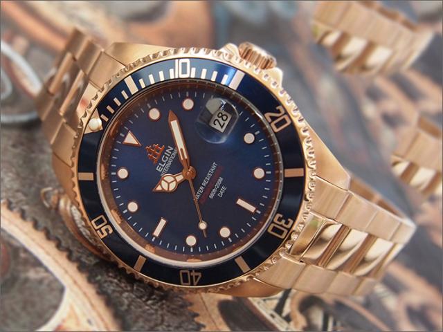 エルジン ELGIN 腕時計 オートマチック FK1405PG-BL ブルー メタルベルト