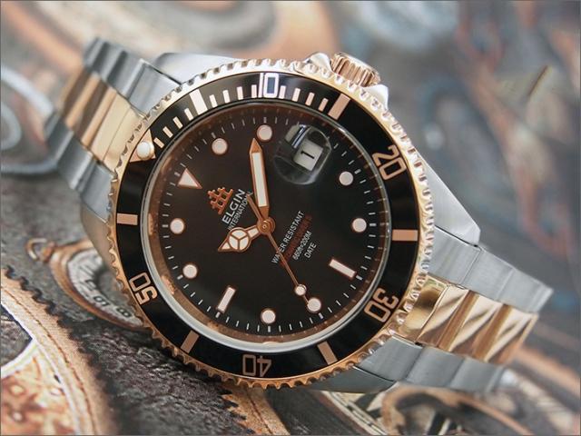 エルジン ELGIN 腕時計 オートマチック FK1405PS-B ブラック メタルベルト