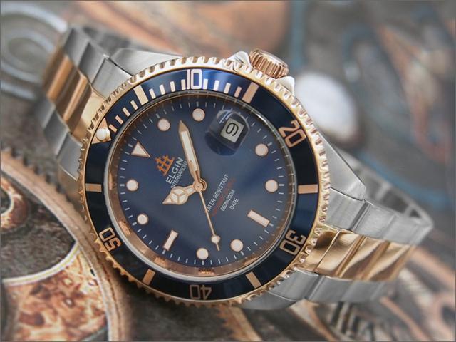 エルジン ELGIN 腕時計 オートマチック FK1405PS-BL ブルー メタルベルト