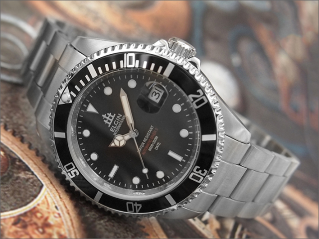 エルジン ELGIN 腕時計 オートマチック FK1405S-B 黒 メタルベルト