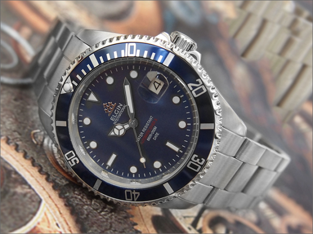 エルジン ELGIN 腕時計 オートマチック FK1405S-BL 青 メタルベルト