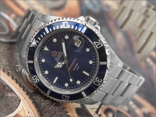 エルジン ELGIN 腕時計 オートマチック FK1405S-BL ブルー メタルベルト