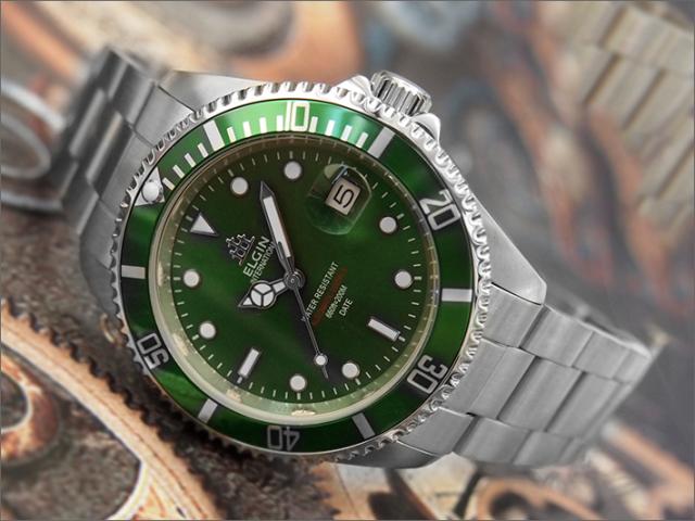 エルジン ELGIN 腕時計 オートマチック FK1405S-GR グリーン メタルベルト