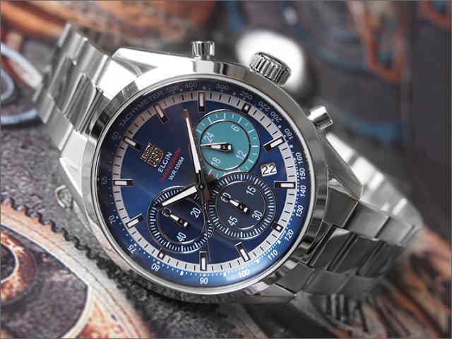 エルジン ELGIN 腕時計 クロノグラフ FK1411S-BL 青 メタルベルト