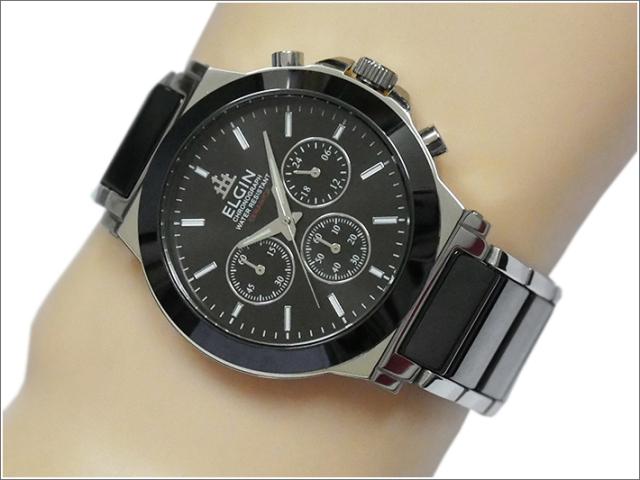 エルジン ELGIN 腕時計 クロノグラフ FK1417C-B ブラック メタルベルト