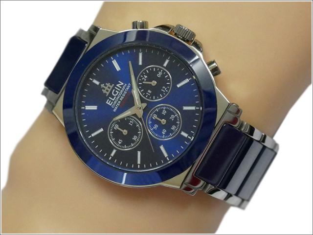 エルジン ELGIN 腕時計 クロノグラフ FK1417C-BL ブルー メタルベルト