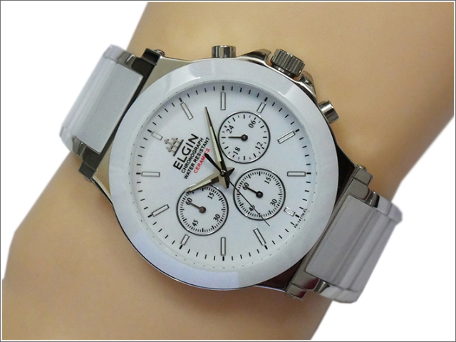 エルジン ELGIN 腕時計 クロノグラフ FK1417C-W ホワイト メタルベルト