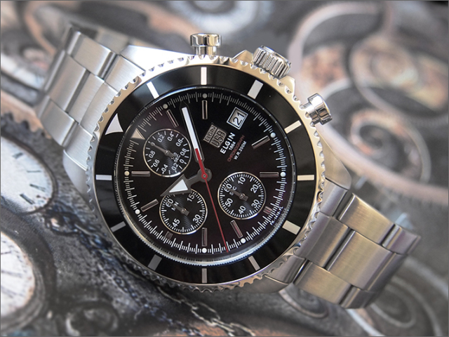 エルジン ELGIN 腕時計 クロノグラフ FK1418S-B ブラック メタルベルト