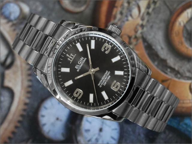 エルジン ELGIN 腕時計 3針クォーツ FK1421S-B 黒 メタルベルト