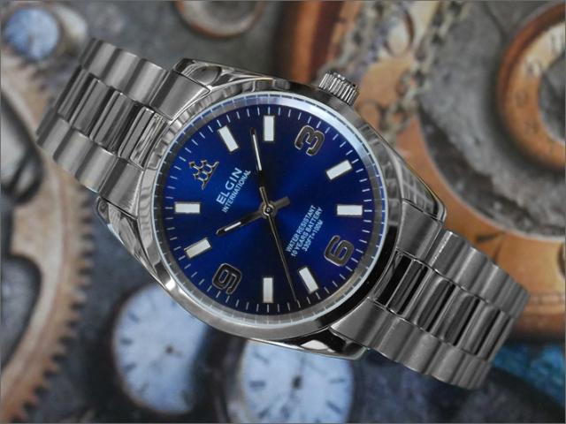 エルジン ELGIN 腕時計 3針クォーツ FK1421S-BL 青 メタルベルト
