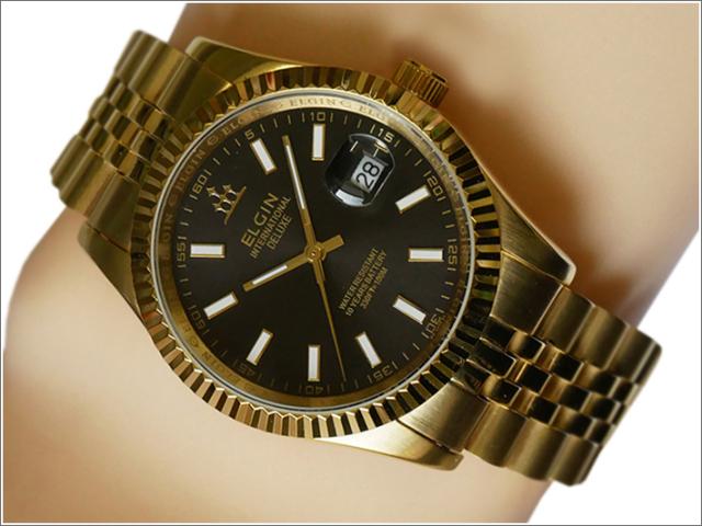 エルジン ELGIN 腕時計 3針クォーツ FK1422G-B ブラック メタルベルト