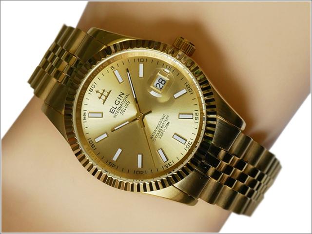 エルジン ELGIN 腕時計 3針クォーツ FK1422G-G ゴールド メタルベルト