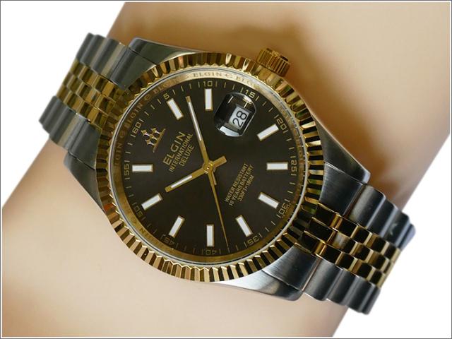 エルジン ELGIN 腕時計 3針クォーツ FK1422TG-B ブラック メタルベルト