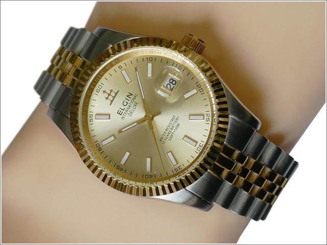 エルジン ELGIN 腕時計 3針クォーツ FK1422TG-G ゴールド メタルベルト