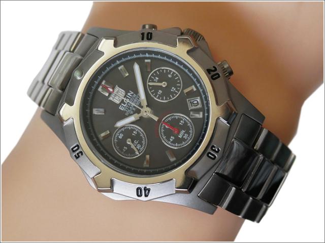 エルジン ELGIN 腕時計 クォーツ ソーラークロノ FK1425TI-B ブラック メタルベルト