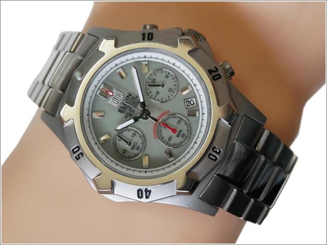 エルジン ELGIN 腕時計 クォーツ ソーラークロノ FK1425TI-BR 蓄光 メタルベルト