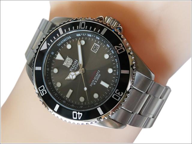 エルジン ELGIN 腕時計 ソーラー ダイバー FK1426S-B ブラック メタルベルト