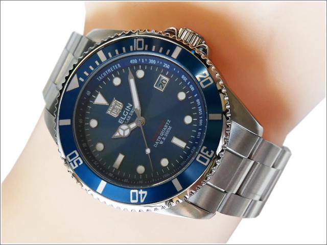 エルジン ELGIN 腕時計 ソーラー ダイバー FK1426S-BL ブルー メタルベルト