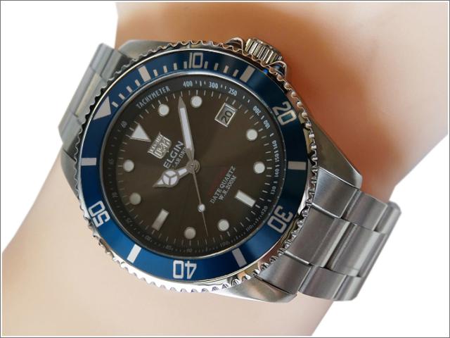 エルジン ELGIN 腕時計 ソーラー ダイバー FK1426S-BL2 ブルー メタルベルト