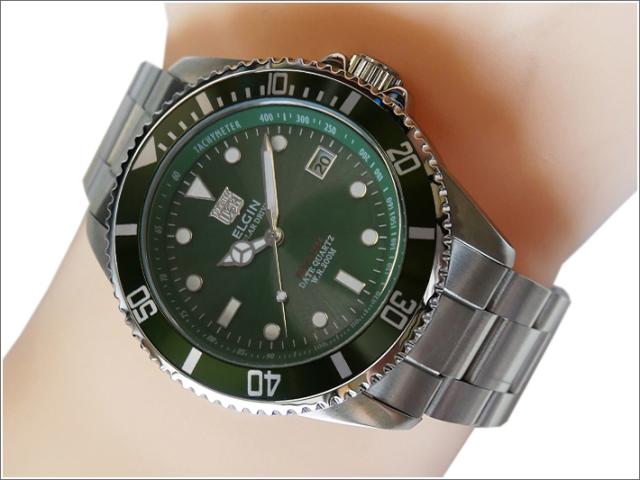 エルジン ELGIN 腕時計 ソーラー ダイバー FK1426S-GR グリーン メタルベルト