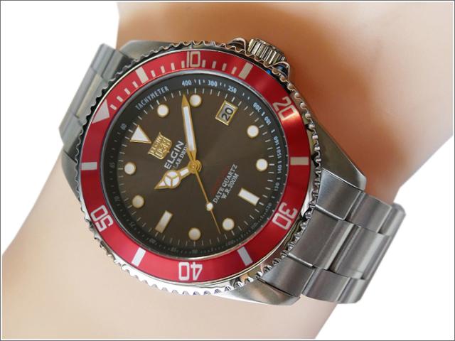 エルジン ELGIN 腕時計 ソーラー ダイバー FK1426S-R レッド メタルベルト