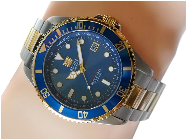 エルジン ELGIN 腕時計 ソーラー ダイバー FK1426TG-BL コンビ メタルベルト