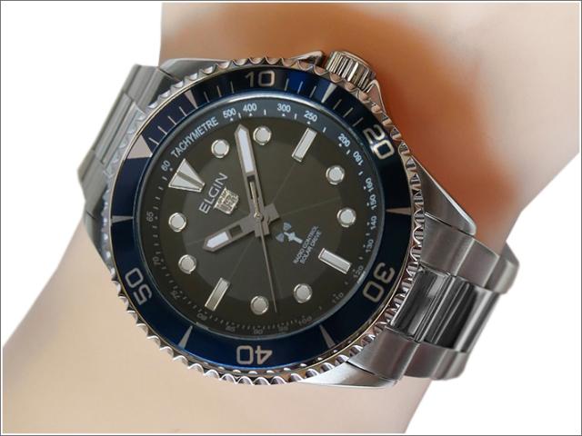 エルジン ELGIN 腕時計 ソーラー 電波受信 FK1427S-BLP ネイビー メタルベルト