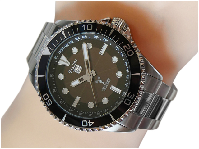 エルジン ELGIN 腕時計 ソーラー 電波受信 FK1427S-BP ブラック メタルベルト