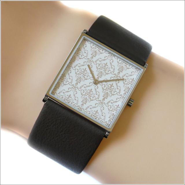 エービーアート a.b.art 腕時計 2013年 限定モデル DAMASK-E ホワイト文字盤 24mm×24mm ブラウン カーフレザーベルト クォーツ
