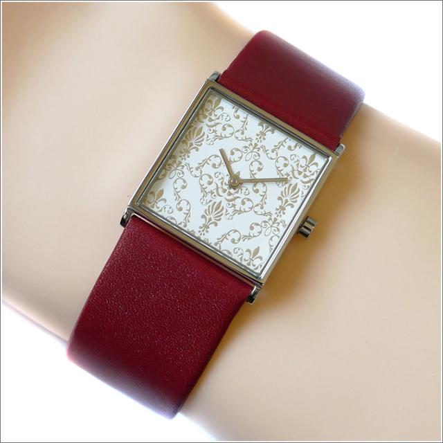 エービーアート a.b.art 腕時計 2013年 限定モデル DAMASK-ES ホワイト文字盤 24mm×24mm レッド カーフレザーベルト クォーツ